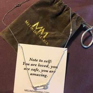 Melinda Maria baby safety pins silver necklace
